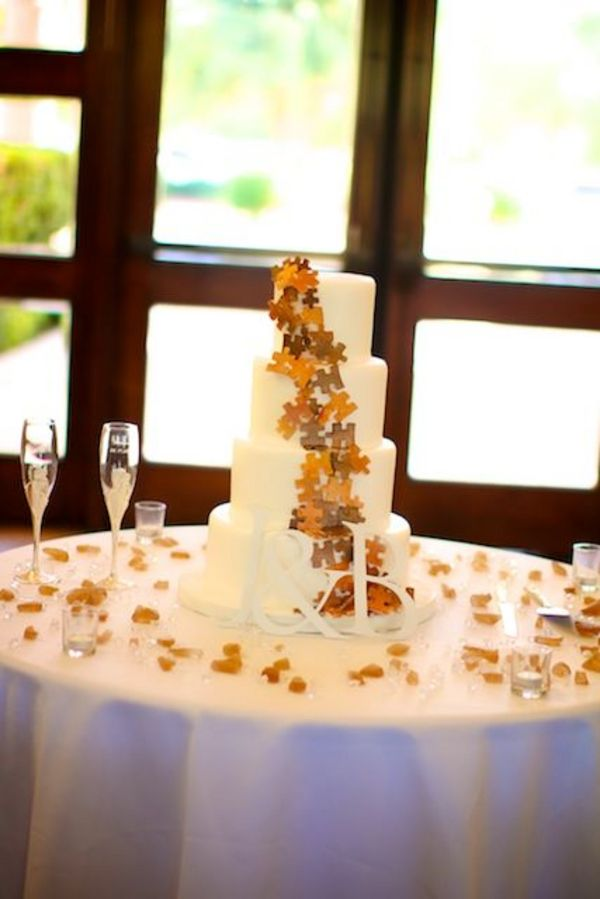 Puzzle Piece Themed Wedding Cake  Photo by: sun-dance photography