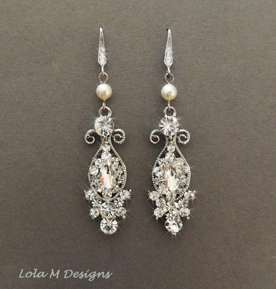 Vintage Style Earrings: Vintage Inspired Bridal Earrings, Wedding Jewelry