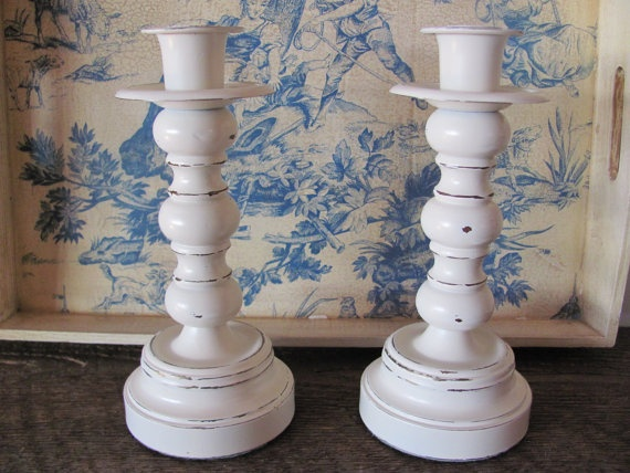 Shabby Chic Candle Holders Pair of Cream by theshabbychateau, $25.00