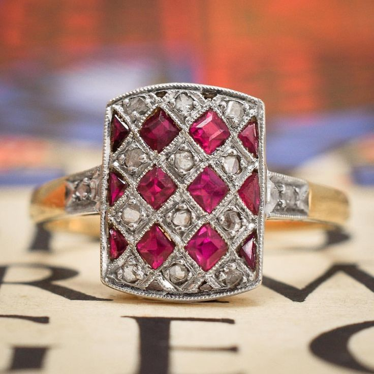 """590 Likes, 7 Comments - Butter Lane Antiques (@_butterlaneantiques) on Instagram: """"I love this #French #Edwardian period 'checker-board' #Diamond and #Ruby cluster #ring; twelve…"""""""