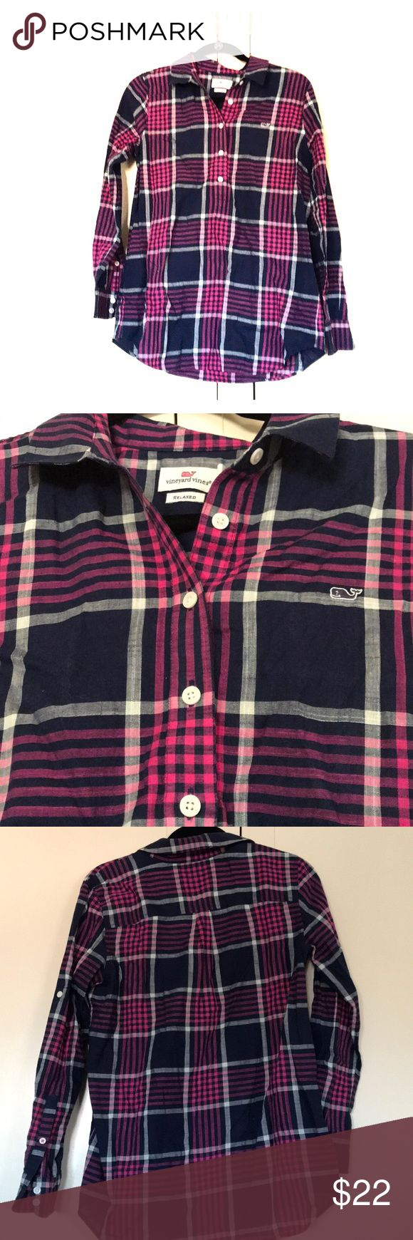 VINEYARD VINES flannel tunic Lightweight and slightly sheer. 5 buttons down the front but tunic style. Only worn 1x but could use a good pressing from being folded. Vineyard Vines Tops Button Down Shirts