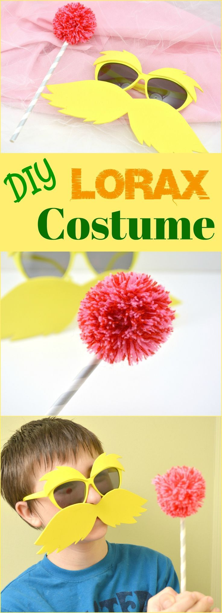 This DIY Lorax Costume is easy & simple! Kids can dress up like their favorite Dr Seuss character on Dr Seuss Day (Read Across America Day) and learn about conservation and loving our earth! Simple step by step directions. #drseuss #seussday #readacrossamerica
