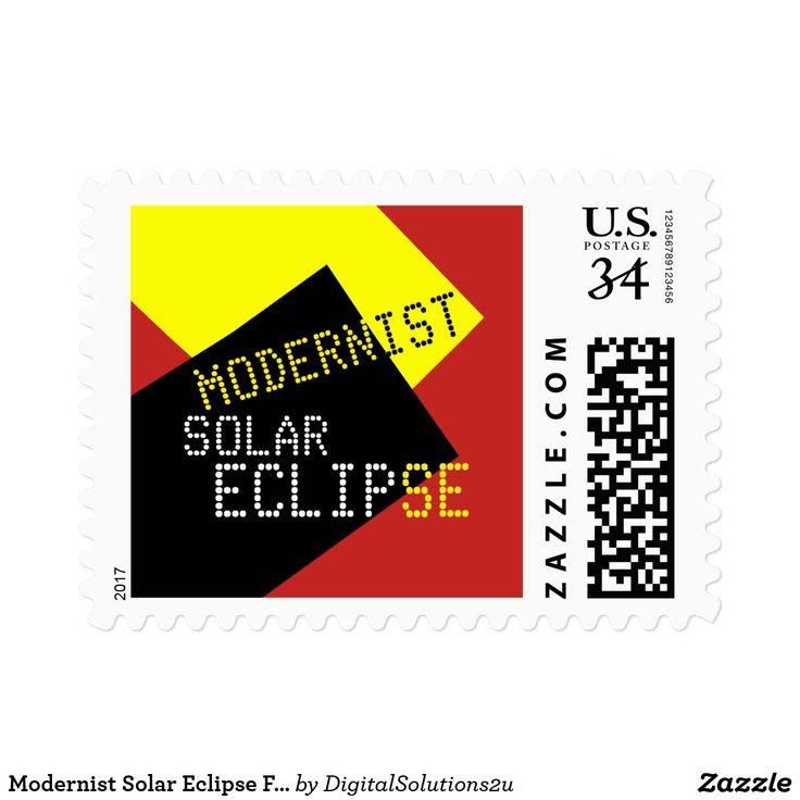 Modernist Solar Eclipse Funny customizable Postage