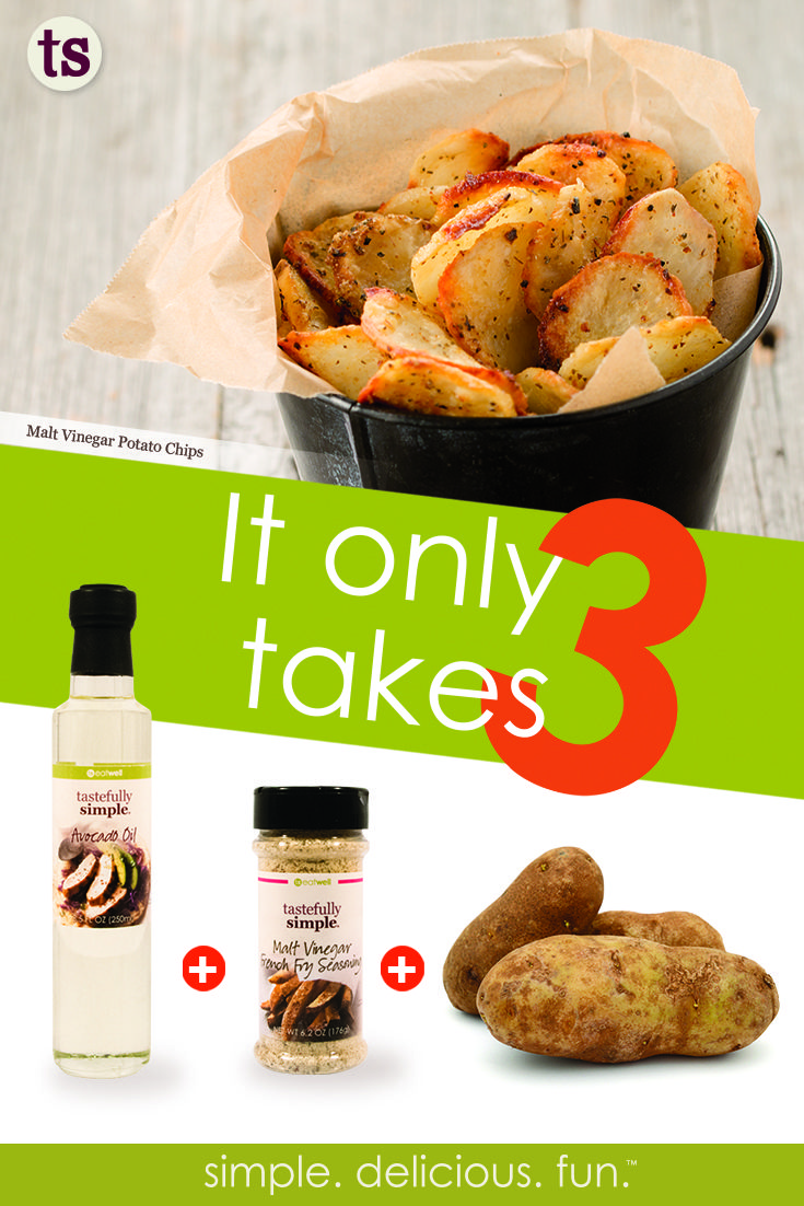 Combine Tastefully Simple's Avocado Oil, Malt Vinegar French Fry Seasonin and russet potatoes to get oven-fried homemade potato chips! #ittakests