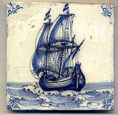 Antique Dutch tile, 17th century.