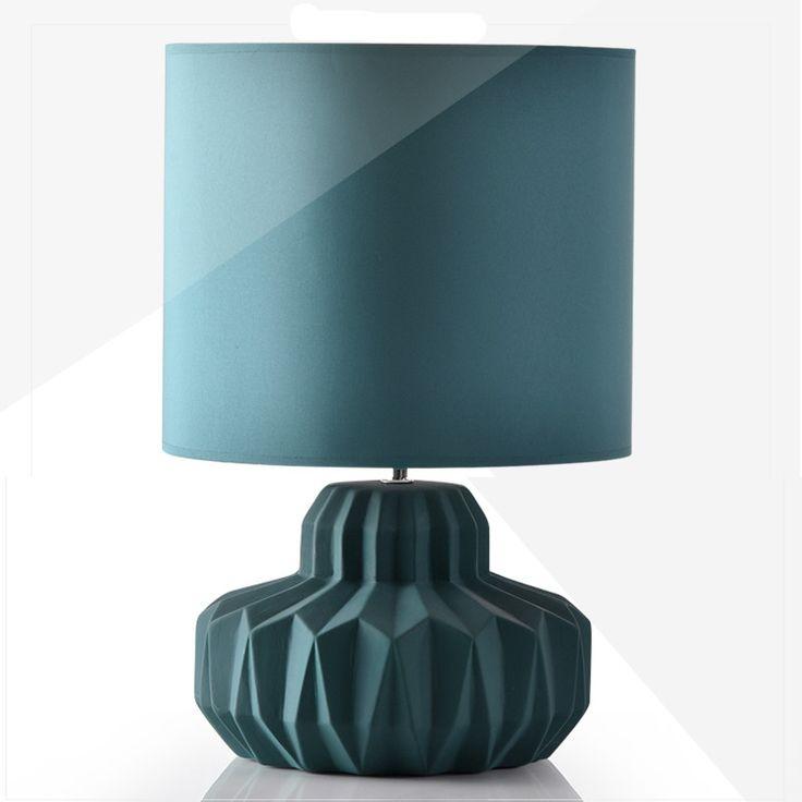 Творческий Простой Современная Мода Nordi Голубой Керамической Ткань Led E14 настольная Лампа Для Гостиной Спальня Исследование Деко H 44 см 1249 купить на AliExpress
