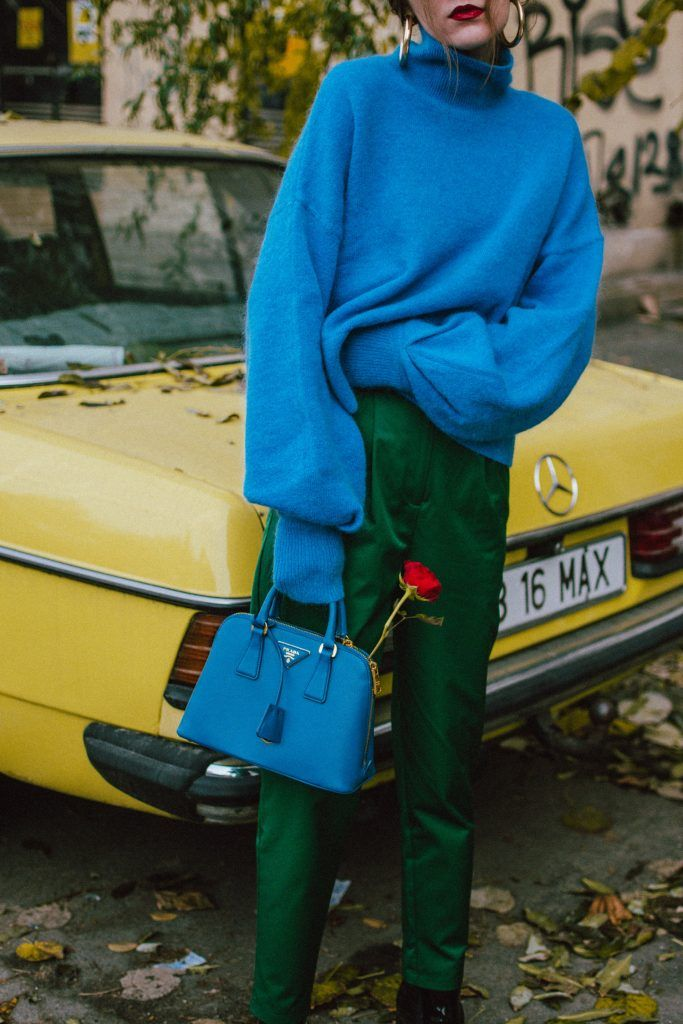 H&M cashmere baby blue oversized sweater, green high waisted trousers, patent heeled ankle boots, black leather ankle booties, how to wear green and blue in fall, prada borsa a mano saffiano lux cobalt bag, mini tote bag, prada blue bag, news boy cap, baker boy hat, cap, hat, andreea birsan, couturezilla, cute fall outfit ideas 2017, cashmere turtleneck sweater, roses, cute socks, sweater weather, how to look Parisian chic, European summer street style inspiration for women 2017, pinterest…