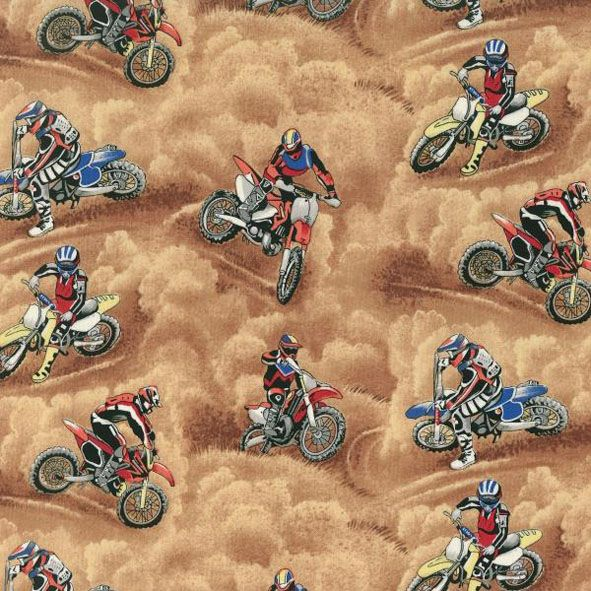 Dirt Bike Fabric Print - great boy's gift idea.   All fabric prints are available on our Carry On Bags, Dance Bags, Overnight/Weekender Bags, Shampoo Bags and Travel Mate Bags.  Motorbikes   Dirt   Boys   Unique