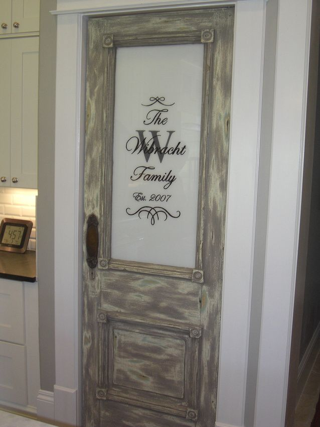 painted pantry door family name and date married faux finished door theraggedwrenblogspot - Kitchen Pantry Door Ideas
