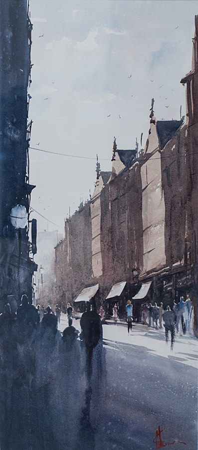 Alan Somers-South William Street #dublin #art #painting #watercolour #citystreets #fineart