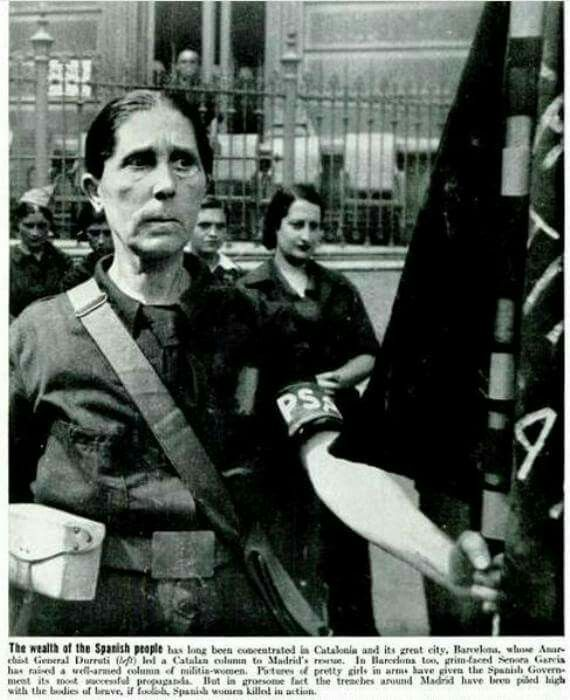 Milicana of the Durruti Colomn comes to the relief of Madrid. November 1936.