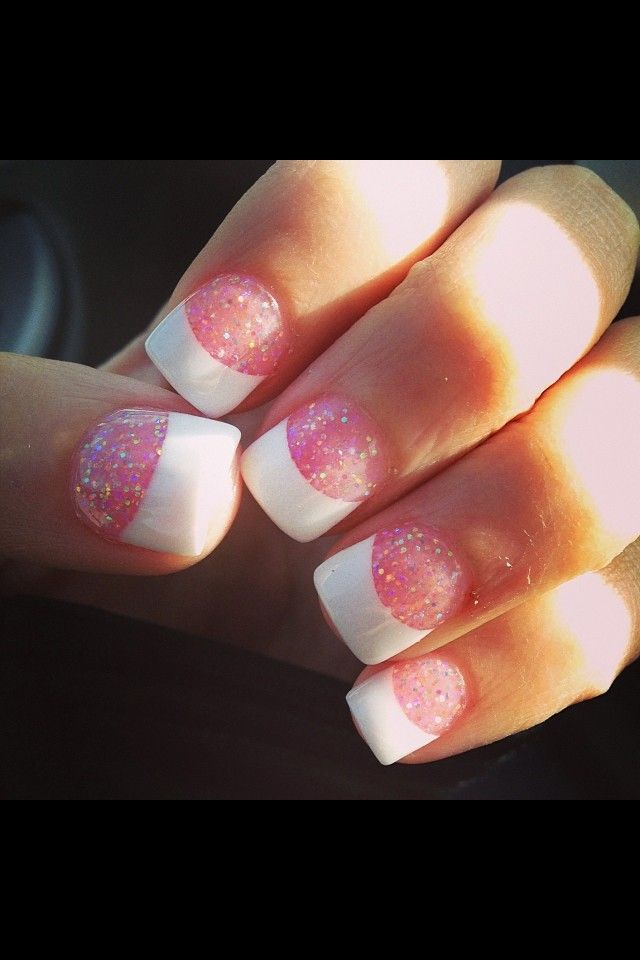 Sparkly French solar nails :)