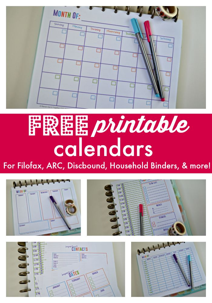 Download these FREE printable calendars for your Filofax, home management binder, Arc Notebook, and more! Daily, weekly, and monthly planner pages to keep you organized!