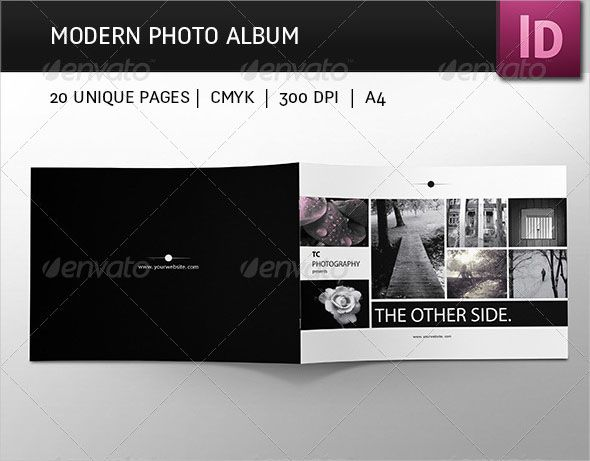 Modern Photo Album Design Simple and modern photo album. It is easy to customize and edit. You can use pictures variation you want, black&white or color pictures. Also, you can use it for every genre of photo album – animals, mode, products, food etc. FEATURES: multipurpose photo album 20 pages 8,5×11 in, landscape bleeds 0,25 in CMYK 300 DPI character styles fonts – (Calibri, Myriad Pro) – adobe system fonts Photos are NOT included in download!