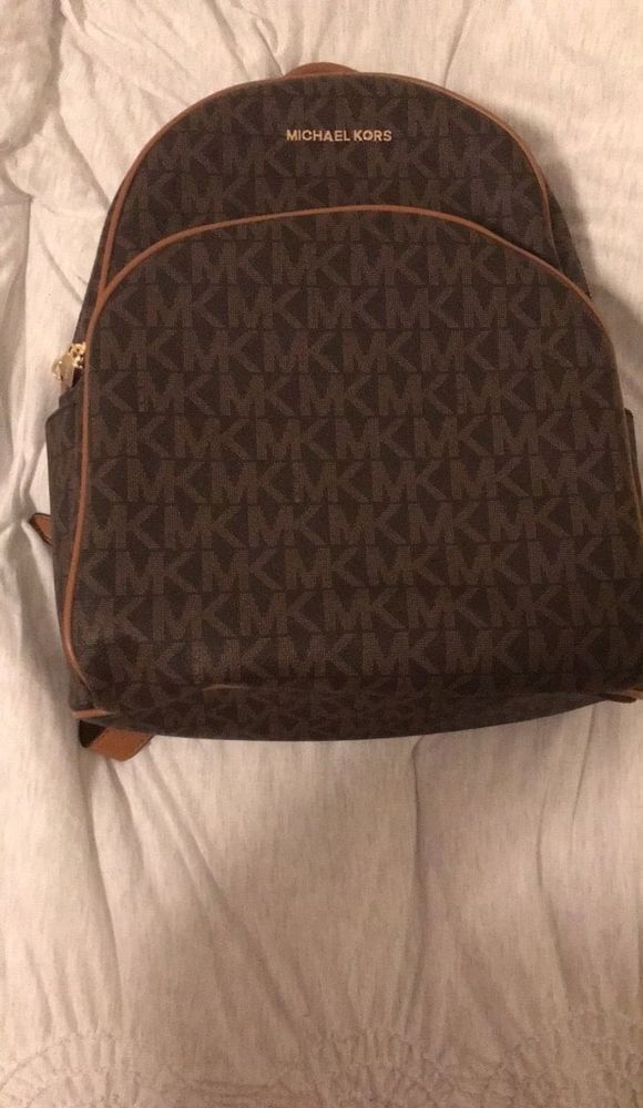 aa7f0451c574 fashion NWT MICHAEL MICHAEL KORS SIGNATURE PVC ABBEY LARGE BACKPACK BAG IN  BROWN/ACORN