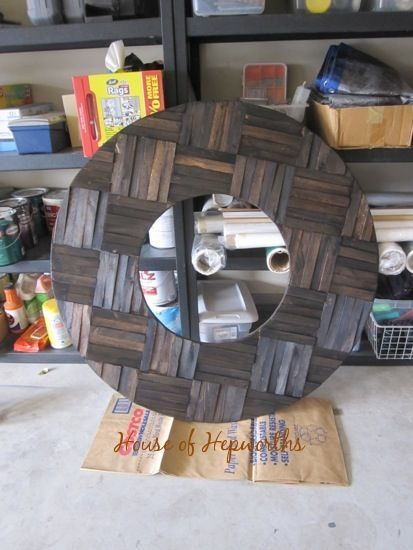 Totally awesome HUGE mirror made from shims (DIY mirror project)