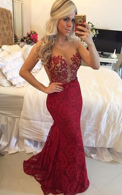 17fc28611d42 Wine Red Prom Dresses,Charming Evening Dress,Burgundy Prom Gowns,Lace Prom  Dresses,2018 New Prom Gowns,Gold Evening Gown,Backless Party Dresses