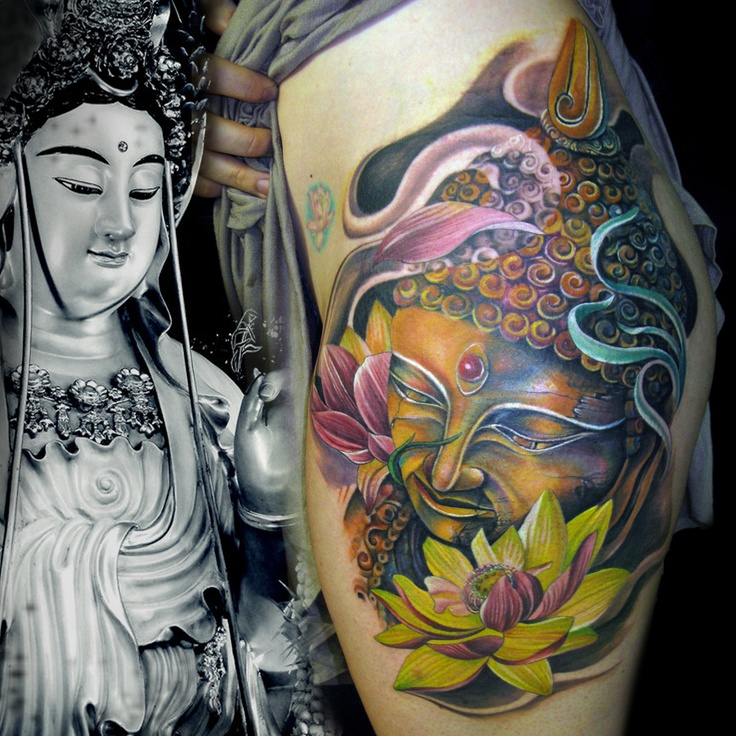 #tattoo #color #buddha #lotus