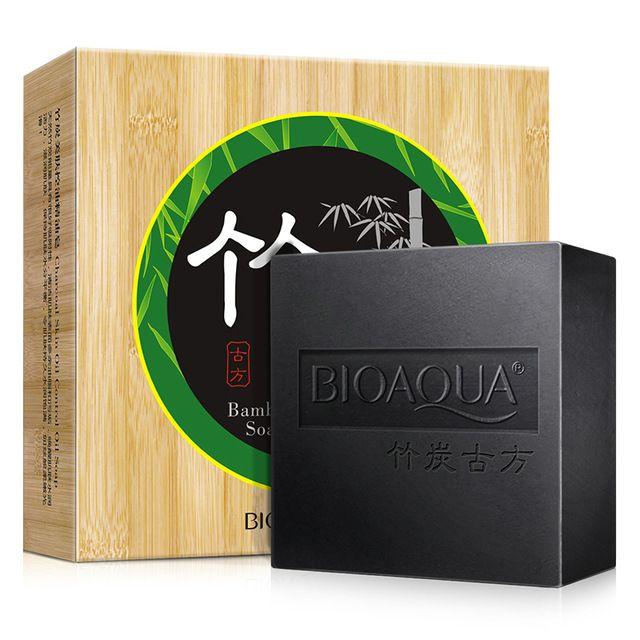 Carbón De Bambú Jabón de Aceite Esencial Facial Limpia BIOAQUA Tratamiento De Blackhead Acné Control de Aceite Reducir Los Poros Envío Libre