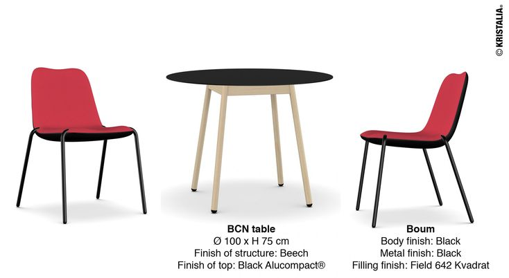 The first #mondayidea of 2016, happy new year! The proposal this week to the decor of a dining area  Boum chair Body finish: Black Metal finish: Black Filling finish: Field 642 Kvadrat  BCN table Ø 100 x H 75 cm Finish of structure: Beech Finish of top: Black Alucompact® #diningtable #diningchiars #diningroom
