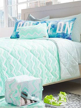 I LOVE this VS Pink Dorm bedding. It reminds me of the ocean...and who doesn't want to wake up feeling like they are on the beach!?