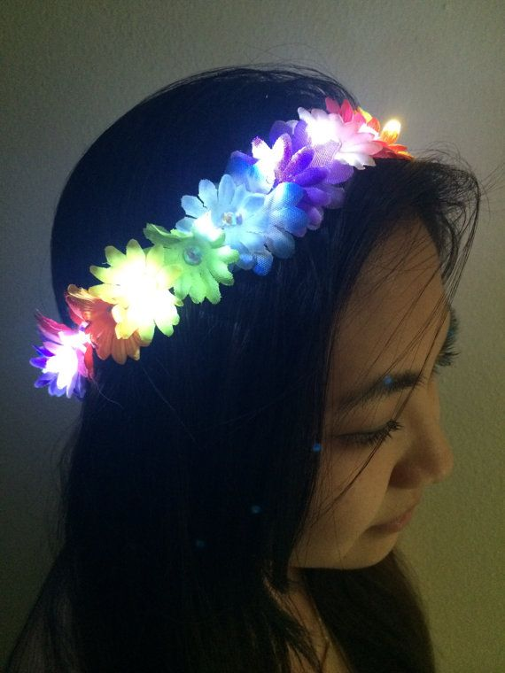 MUST MAKE for Electric Daisy Carnival: Rainbow Daisies Light Up LED Flower Crown for Festivals, EDC, EDM Raves or Concerts. Flower power indeed! Beautiful.