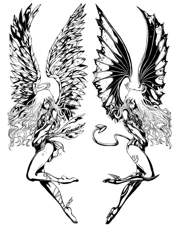 Put one on each shoulder. angel & demon tattoos - Bing Images. Would also love to draw these.