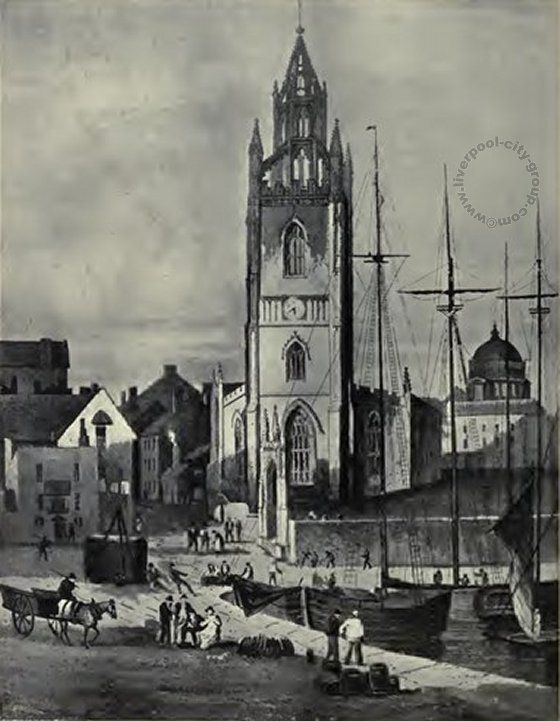 Liverpool, history, liverpool-history-st-nicholas-church-and-st-georges-basin-1824