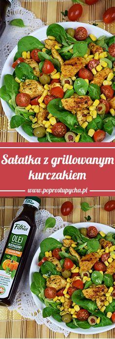 Masz ochotę na dobrą sałatkę na kolację?? Polecam sałatkę z grillowanym kurczakiem <3  #poprostupycha #obiad #salatka #kurczak