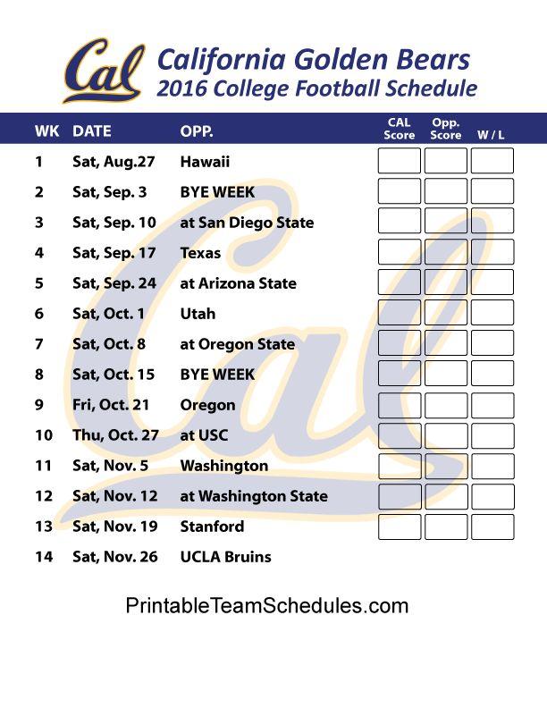 CAL Golden Bears Football Schedule 2016. Print Schedule Here - http://printableteamschedules.com/collegefootball/calgoldenbears.php
