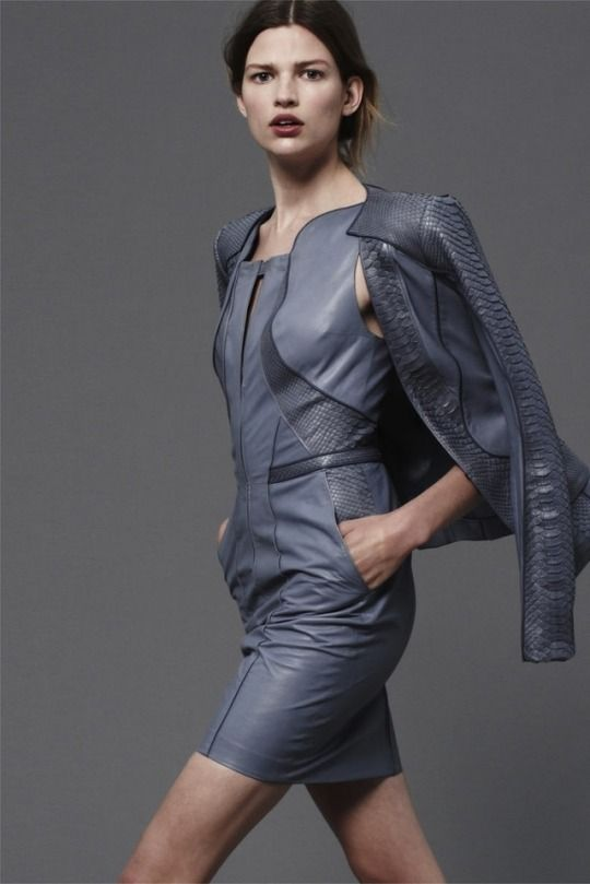 Designer Leather Fashions gray leather dress and jacket ensemble runway fashion