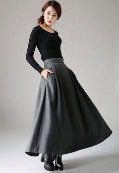 maxi grey skirt, winter wool skirt, long pleated skirt, pocket skirt, A- line…