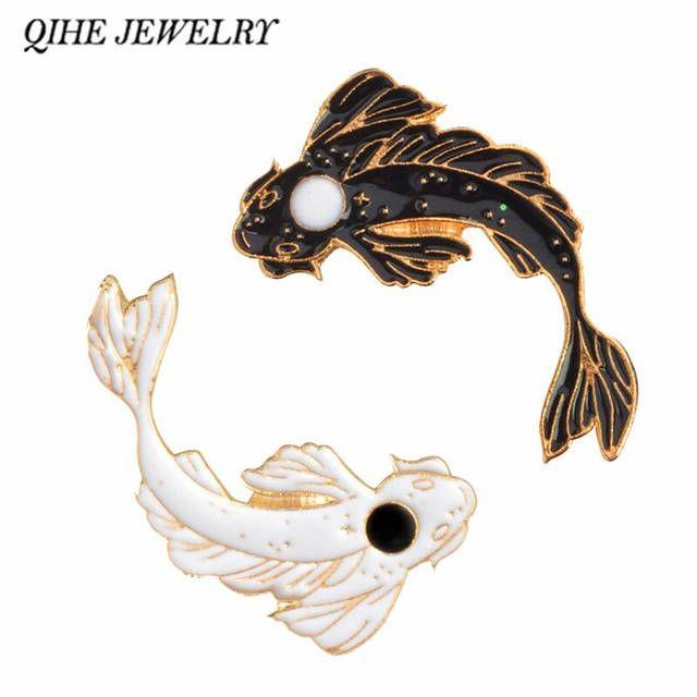 1 39us 25 Off Qihe Jewelry Yin Yang Koi Pins Japanese Koi Fish Goldfish Hard Enamel Lapel Pins Badges Brooches Animal Pins Clooection Brooches Aliexpres Yin Yang Enamel Lapel Pin Yin Yang Koi