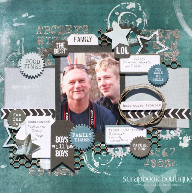 Created by Judith Armstrong for Scrapbook Boutique using Kaisercraft Scrap Yard and Dusty Attic chipboard