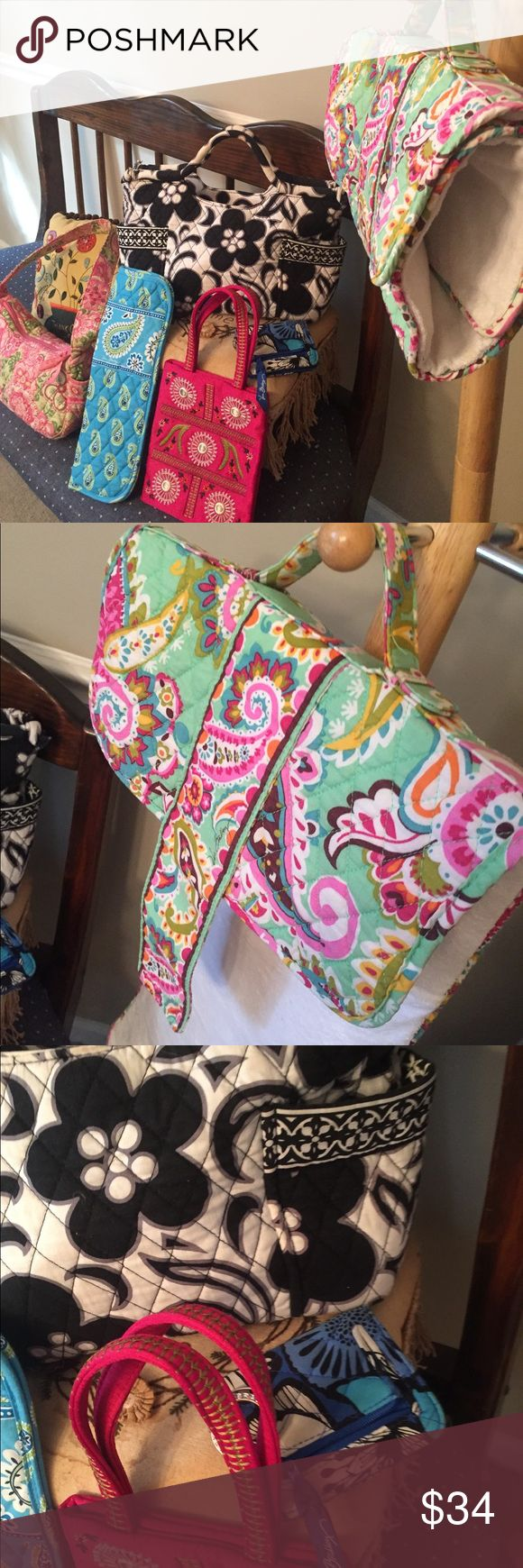 6 Pc Vera Bradley bundle 5 vera. The hot pink is Frankie and Johnny.  Tutti fruitty changing pad/clutch.  Great for the baby. Handbag. ID keychain  pink handbag. Hot iron case    Very nice. Clean lovely Vera Bradley Bags Shoulder Bags