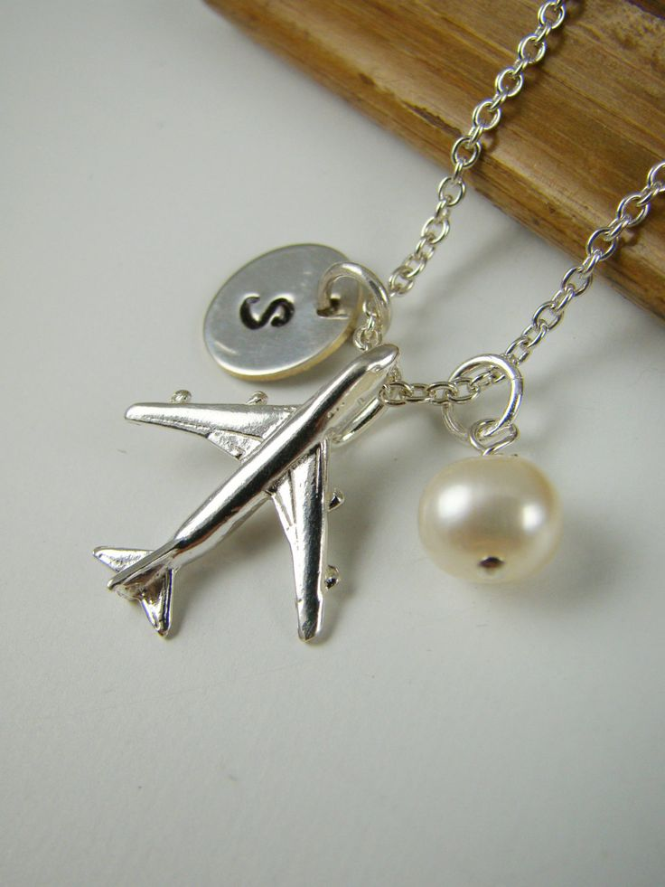 Personalized Airplane Necklace Sterling by ShinyLittleBlessings, $34.00
