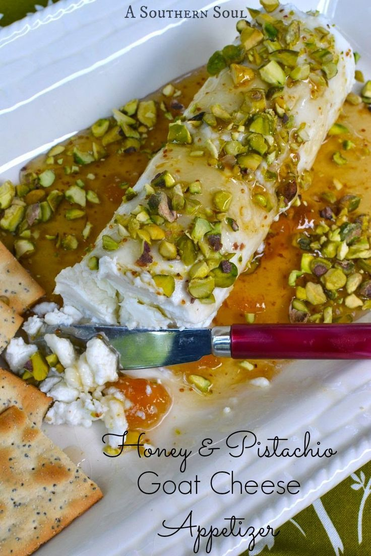 Easy appetizer - Honey & Pistachio Goat Cheese Appetizer with Fig preserves