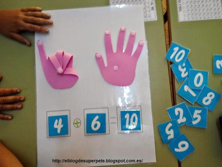 Un divertido recurso para la utilización de la suma y la resta. Consiste en poner los dedos de la mano según el número que pongamos en la casilla y luego sumarlo.