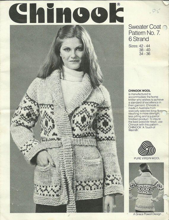 Chinook Sweater Coat Knitting Pattern Siwash/Cowichan type sweater coat Using 6…