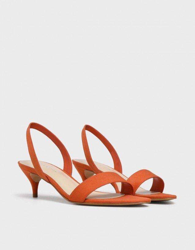 Red Open Toe Slingback Kitten Heels   CHARLES & KEITH
