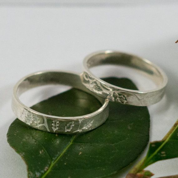 Oak Leaf Wedding Bands: A Set of hers and hers Sterling by sjegan