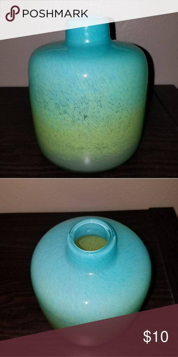 "Antique glass vase Excellent condition, no chips or scratches. I was told that this was a type of hand-blown glass vase popular in the 70's... Beautiful green-blue hues that ""glow"" when a certain angle of light meets the surface. Well-cared for, looks stunning on dark brown espresso tabletop. Eclectic shape and colors, perfect for your study or yoga room... Will be carefully packaged with extra padding and thick bubble wrap in sturdy box. Other"