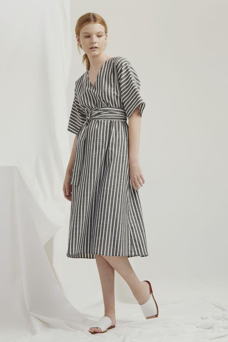 Kyoto Dress - Grey Chambray Stripe