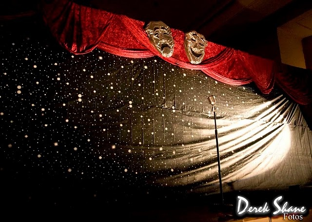 Broadway theme stage backdrop - we could put the masks on top of plan black backdrop