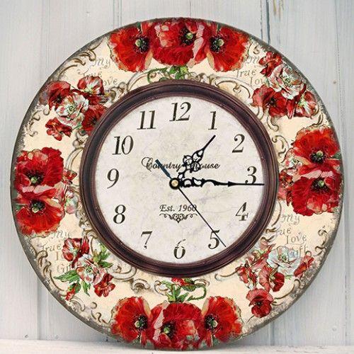Zegar Ścieny Maki 29cm - Decoupage - Dekoracje wnętrz