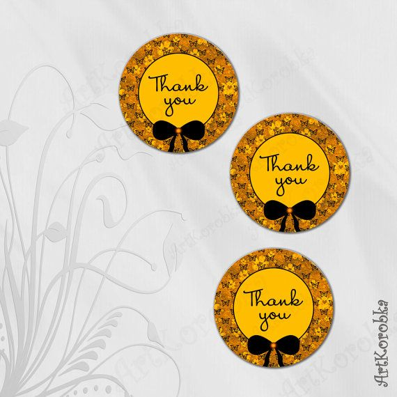 Yellow Round THANK YOU cards  Butterfly Flower Thank by Artkorobka