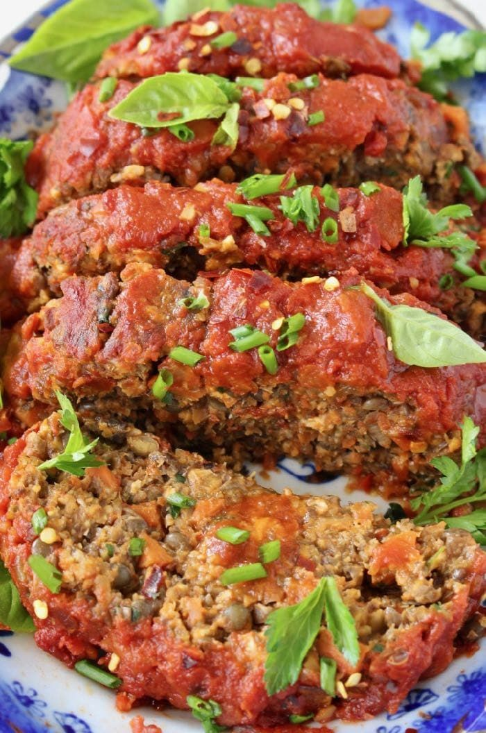Vegan Lentil Veggie Loaf Recipe with Italian Tomato Sauce
