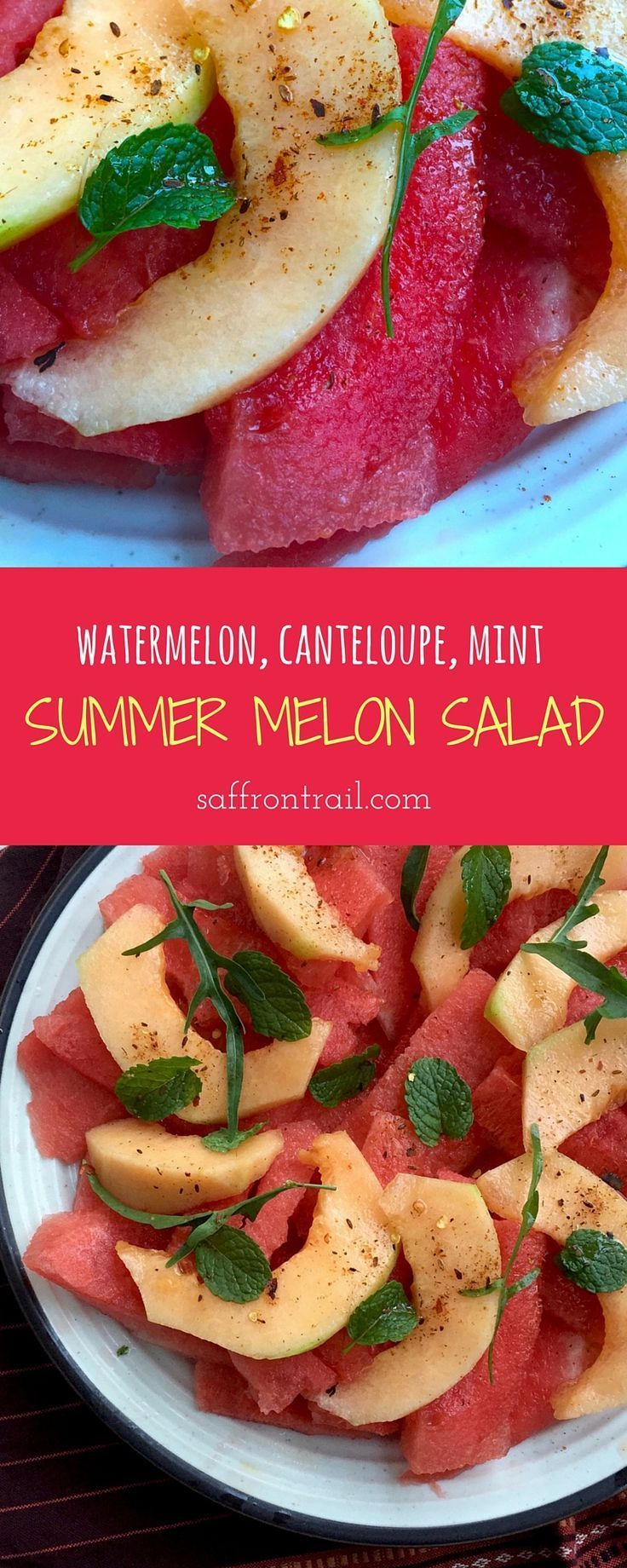 Summer Melon Salad - Slices of watermelon, cantaloupe, topped with mint leaves and rocket and a freshly ground chilli salt, HEAVENLY when served chilled for a summer lunch or dinner. #summerrecipes http://www.saffrontrail.com/summer-melon-salad-watermelon-cantaloupe-salad