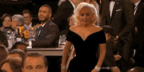 Lady Gaga demonstrates how to startle Leo.