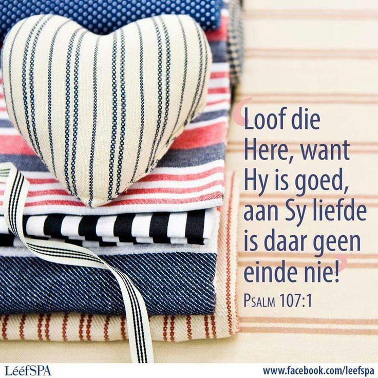 """Teks - Ps 107:1 """"Loof die Here..."""" #Afrikaans #Praise"""